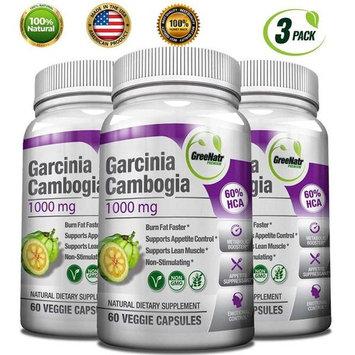 GreeNatr Garcinia Cambogia 60 HCA - Natural Appetite Suppressant, Fat Burner and Weight Loss Supplement, 60 Veggie Capsules