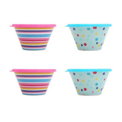 Tzeng Shyng Mainstays Summer in the Sun Melamine Berry Bowl with Lid, 4 Pack