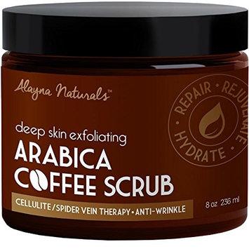 Deep Skin Exfoliating Arabica Coffee Scrub 100% Natural, Organic Ingredients – Acne, Anti Cellulite, Stretch Mark Treatment And moisturizer, Spider Vein Therapy for Varicose Veins & Eczema 8.8 oz