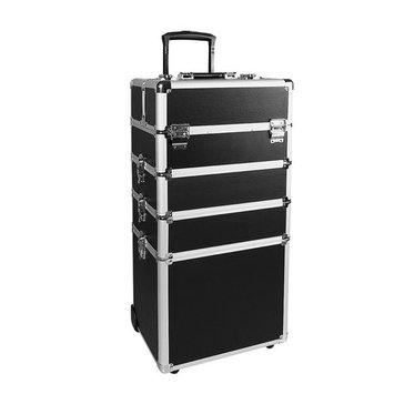 Makeup Rolling Train Case 4-in-1 Professional Artist Trolley Cosmetic Organizer with 2 Wheels Durable Aluminum Frame Folding Trays and Locks (13.4×10.4×28.7in, Black) …