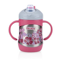 Luv N' Care, Ltd. Nuby 2 Handle Stainless Steel Cup with No Spill Soft Spout, Pink
