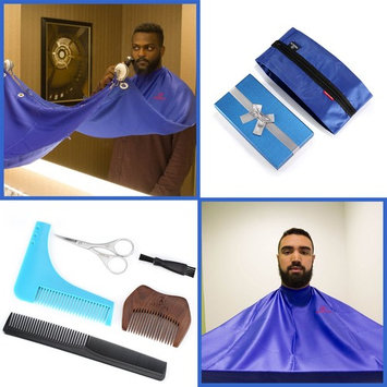 Beard Bib Kit (9pcs) - Shaving/Grooming Cape w/Strong Suction Cups, Beard Trimming Shaping Tool, Beard/Mustache Scissors, Sandalwood Beard Comb - Beard Trimmer Apron - Hair Catcher for Sink (Blue)