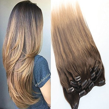 16'' 9 Pcs 120Gram Clip in Human Hair Extensions Balayage Color #2 Dark Brown fading to #27 Honey Blonde 100% Straight Remy Human Hair Clip in Full Head Omber Clip on Remy Hair Extensions