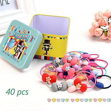J-Beauty Baby Kids Girl Colorful Bowknot Hair Tie Bands Rope Clip 40 Pcs In One Metal Box