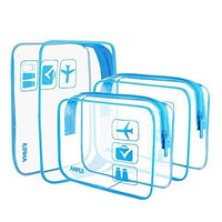 (3 Pack) ANRUI Clear Toiletry Bag TSA Approved Travel Carry On Airport Airline Compliant Bag Quart Sized 3-1-1 Kit Travel Luggage Pouch (Blue) : Beauty