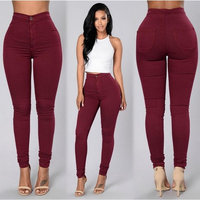 Women's Fashion Slimming Fit High Waist Solid Color Long Pencil Pants