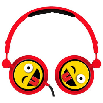 Alta Industries Wink Emoji - Swivel Adjustable Headband Stereo On-Ear Headphones W/In-Line Mic