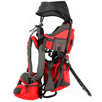 Clevr Canyonero Camping Baby Backpack Hiking Kid Toddler Child Carrier with Stand & Sun Shade Visor, Red