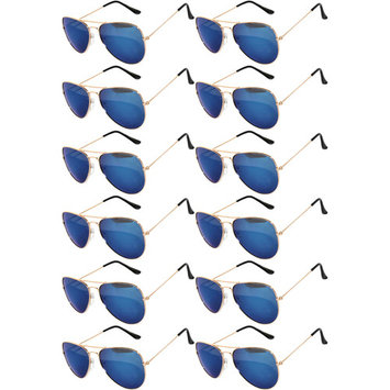 Aviator Style Sunglasses Gold Metal Frame Blue Mirror Lens OWL (12 Pack)