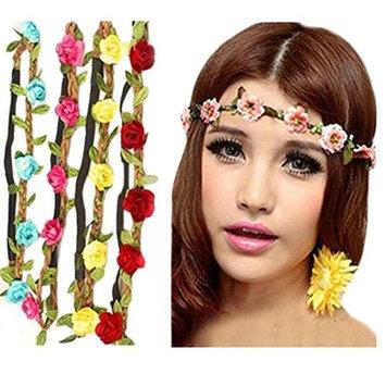 Frcolor Boho Style Women's Flower Crown Festival Wedding Hair Wreath Garland Floral Headband Hairband Pack of 8
