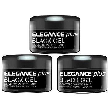 ELEGANCE PLUS Black Gel Covers White Hair 3 Pack 3.5oz/100ml 3 x BB-50836