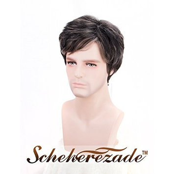 Scheherezade Dark Brown Mens Wig with Highlight, Natural Looking Full Machine Made Short Wig Handsome Cheap Synthetic Wigs for Men