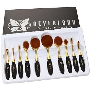 Neverland Beauty 10pcs Rose Gold & Black Make-up Brushes Set Elite Oval Toothbrush Powder Foundation Contour with Case Box