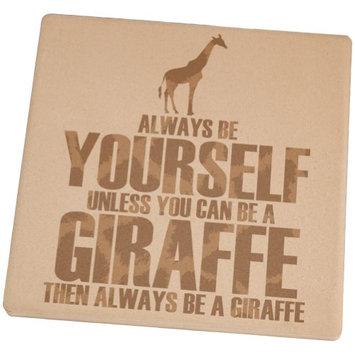 Animal World Always Be Yourself Giraffe Square Sandstone Coaster