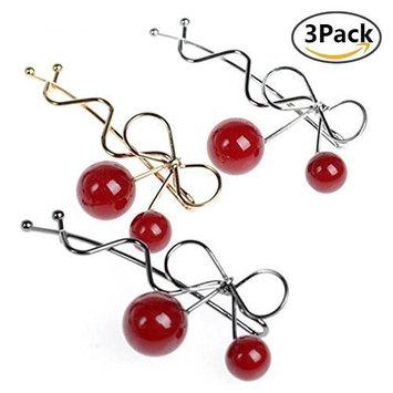 Sweet Red Cherry Korean Hair Pins,3 Pcs Twist Hair Clips, Headdress Hair Accessories Headwear