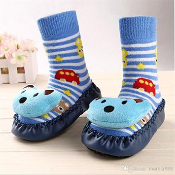 Bebedou 3/9 m blue bear cartoon socks 3 to 9 months Baby Toddlers Kids Comfy Indoor Slippers Shoes Socks Moccasins NON SKID Indoor Shoes Socks Durable Multifunctional slip baby booties breathable toddler elastic, warm and thick socks with soft leather sole 11 cm