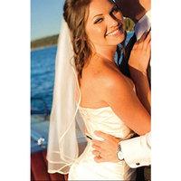Bridal Wedding Veil 1 Tier Shoulder Length Ivory 1/8in (3mm) Satin Ribbon Edge