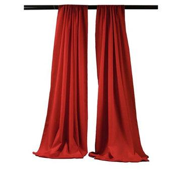 LA Linen BDpop96x58-Pk2-RedP98 Polyester Poplin Backdrop Drape Red - 96 x 58 in. - Pack of 2
