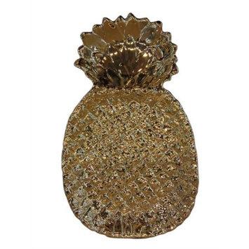 Benzara Alluring Pineapple Inspired Patterned Ceramic Plate