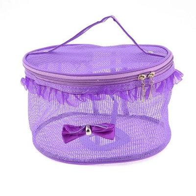Unique Bargains Purple Dual Zippers Hollow Out Water Resistant Makeup Pouch Cosmetic Bag