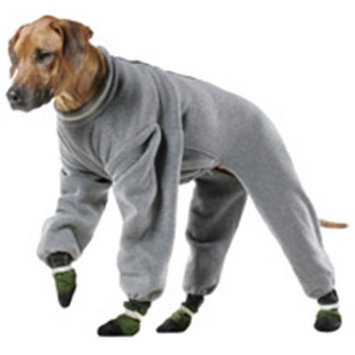 Muttluks Fleece Dog Jogging Suit in Grey Dog Length (Collar to Base of Tail): 26