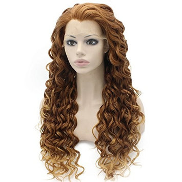 Blonde Tip Auburn Curly Lace Front Synthetic Wig Natural Stylish Fiber Auburn Curly Wig At Mxangel