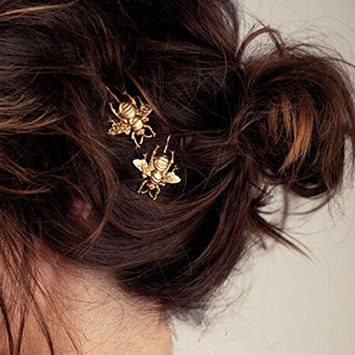 Bluelans 2PCS Style Women Girl Exquisite Gold Bee Hairpin Side Clip Hair Accessories