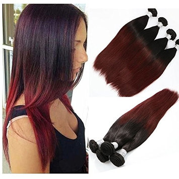 Vario Two Tone Ombre Hair 3 Bundles Total 300 gram Natural Black #1B to Red Straight Weave 100% Brazilian Human Hair Extensions For Full Head (#1B/99J,14 16 18Inches)