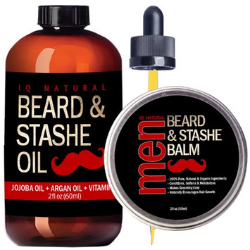 Iq Natural Beard Oil and Beard Balm Kit for Men Care - Leave in Beard Conditioner, Heavy Duty Beard Wax, Mustache Butter & Softener Gift set - for Styling, Shaping, Grooming & Growth