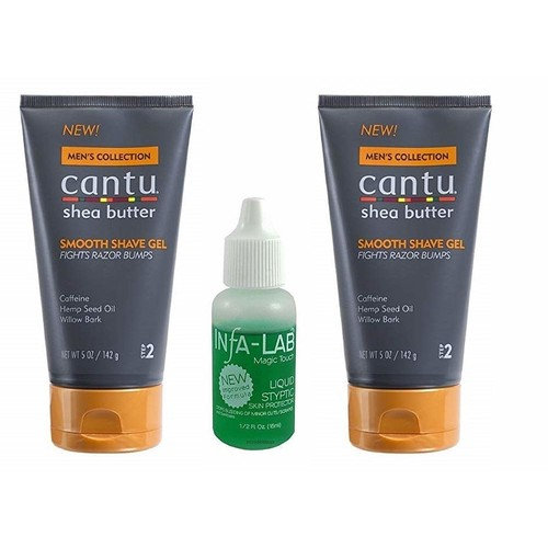 Cantu Shea Butter Men's Collection Smooth Shave Gel, 5 Ounce (2PCS) With INFA-LAB Liquid Styptic