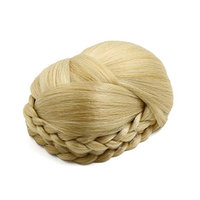 uxcell Synthetic Hair Chignon Twist Braid Style Women Updo Ponytail Hairpiece Wig 1B#