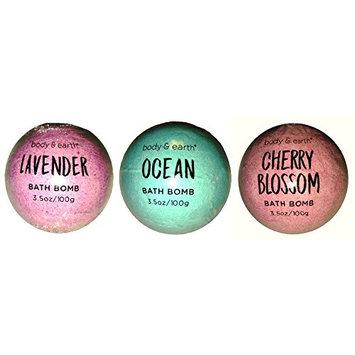 Body & Earth Bath Bombs 3 Pack - LAVENDER, OCEAN, CHERRY BLOSSOM 3.5 oz