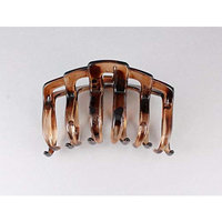 Brown plastic 3 long open jaw barrette hair clip claw clamp curved teeth