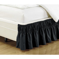 Fancy collection Wrap Around Style Easy Fit Elastic Bed Ruffles Bed-Skirt Twin-Full Solid Black New 17