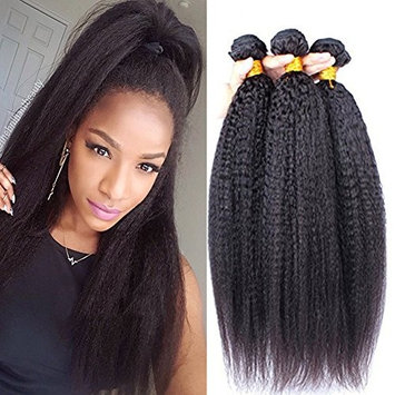 Top Hair Brazilian Straight Hair 1 Bundle Yaki Human Hair Extensions Can Be Dyed Color - Natural Black, 10