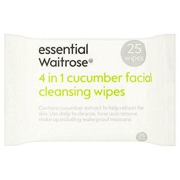 Cucumber Facial Wipes essential Waitrose 25 per pack (PACK OF 2)