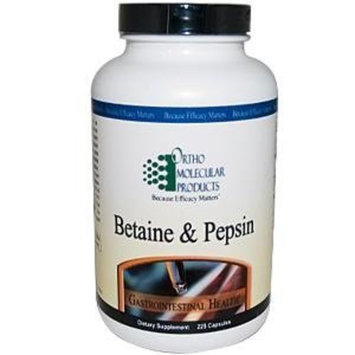 Ortho Molecular Products Betaine and Pepsin Capsules, 225 Count