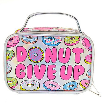 Claire's Girl's Donut Give Up Holographic Cosmetics Bag with Handle