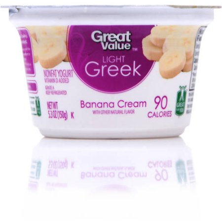 Great Value Light Greek Banana Cream Nonfat Yogurt, 5.3oz