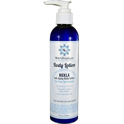 Hekla Anti-Aging Body Lotion - Total Body Anti-Aging Benefits| Peptides + Hyaluronic Acid, Vitamin C + 5% Niacin | In a Natural Organic Lotion base - large 8 ounce pump size