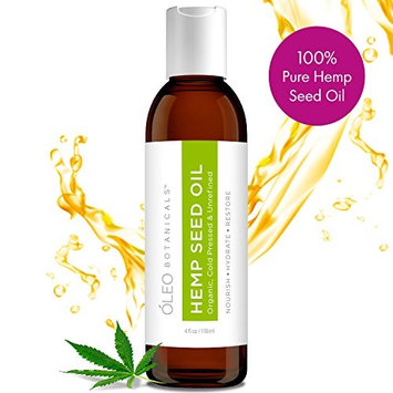 100% Pure Organic Hemp Seed Oil | Cold-Pressed & Unrefined | Premium Quality | California Grown | Hair, Skin & Body Care | Intense Moisturizing | Vitamin E | 4 oz