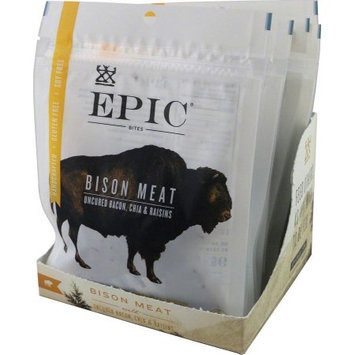 Epic Jerky Bites, 2.5 Ounce, Bison, Bacon and Chia, (Pack of 4)
