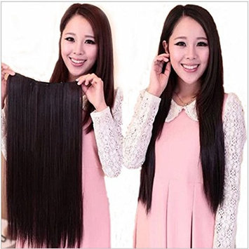 Eastlion New One Piece Women's Natural Fashion Straight Hair-Long Beautiful Synthetic Thick Hair Extensions 5clips Clip(Dark Brown)