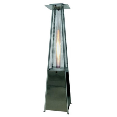 Palm Springs Pyramid Quartz Glass Tube Flame Patio Heater - Stainless Steel