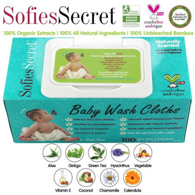 Moist Towel Services SofiesSecret Fragrance FREE Bamboo Baby Wipes, 100% Organic Ingredients, 100 Count, 8