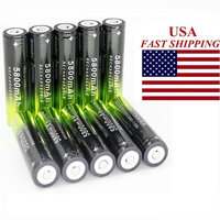 10PCS 3.7V 5800mAh 18650 Battery 10 Pack Rechargeable Batteries for LED Flashlight (Not AA NOT Flat Top)