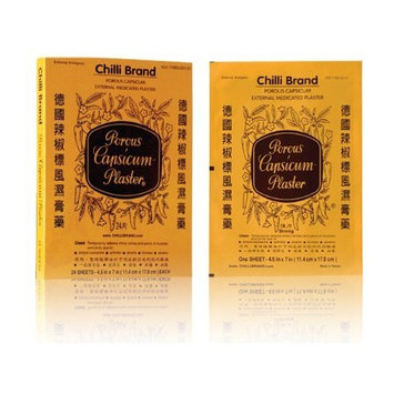 Chili Brand Porous Capsicum Plaster Pain Patch, Pack of 24 Large (11.4 x 17.8 cm) Patches