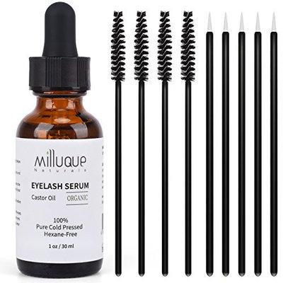 Castor Oil for Eyelashes and Eyebrows, 100% Pure, Organic and Cold Pressed, Promote Natural Growth for Lash and Brows, with Treatment Applicator Kit