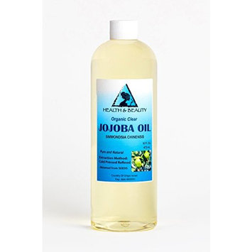 Jojoba Oil Clear Organic Refined by H&B OILS CENTER Cold Pressed Premium Quality Natural 100% Pure 16 oz
