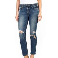 Paige NEW Blue Women 23 Distress Jacqueline High Waist Straight Jeans